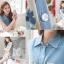 เสื้อคอปก สีฟ้า ตัดต่อผ้าชีฟอง พิมพ์ลายดอกไม้ thumbnail 5