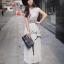 Lady Ribbon แมกซี่ชีฟอง ดีเทลกระโปรงพลีต เอว elastic สีเทา thumbnail 4