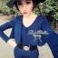 Lady Ribbon จั๊มสูทขายาวสีน้ำเงิน สีดำ ช่วงอกจีบระบาย thumbnail 4