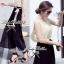 Lady Ribbon Maxi Dress เดรสยาวโทนสีครีมดำ ผูกโบว์ thumbnail 8