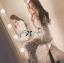Lady Ribbon เสื้อเชิ้ตแขนยาว สีขาว ต่อผ้าลูกไม้ซีทรูเป็นกระโปรงยาว thumbnail 4