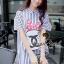 Stripy CC Bow Print Dress Shirt by Seoul Secret thumbnail 3