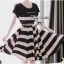 Lady Ribbon Stripe Mini Dress มินิเดรสลายขวางครีม-ดำ thumbnail 2