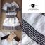 Lady Ribbon ชุดเซ็ตเสื้อนอก พร้อมเดรสเกาะอก ผ้าทวีทขาวดำ thumbnail 9