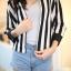 Chic Black n White Striped Jacket thumbnail 7