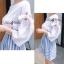 Lady Ribbon ชุดเซ็ทเสื้อกระโปรงสีฟ้าสลับขาว แขนเสื้อแหวก ผูกโบว์ thumbnail 2