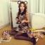 Cherry KOKO เดรสผ้าทอลายหมี ตัดต่อผ้าขนสัตว์ที่ปกคอและกระเป๋า thumbnail 5
