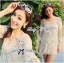 Lady Ribbon Sexy Nude Flower Crochet Mini Dress thumbnail 3
