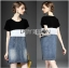 Lady Ribbon Casual Colorblock Denim Dress thumbnail 4
