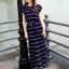 Maxi Dress เดรสยาวผ้าชีฟอง พิมพ์ลายขวาง สีน้ำเงิน สีขาว thumbnail 8