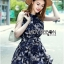 Lady Ribbon Monochrome Floral Printed Mini Dress thumbnail 4