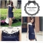 Marsh Mallow Jewels and Beaded Navy Blue Luxury Dress thumbnail 2