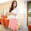 Mayuki Brand กระโปรงสั้นผ้า สีชมพูหวาน แต่งชายกระโปรงเก๋ๆ thumbnail 1