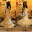 Lady Ribbon Vintage Dress แม็กซี่เดรสผ้าซิลค์ซาตินผสมผ้าลูกไม้ สีชมพู สีครีม thumbnail 4