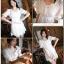 Lady Ribbon มินิเดรสสีขาว ดีเทลลายฉลุดอกไม้ สม็อคเอว thumbnail 3