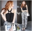 Lady Ribbon Smart Sexy Abstract Print Jumpsuit thumbnail 3