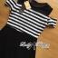 Lady Ribbon Cut-Out Shoulder Striped Maxi Dress thumbnail 6