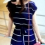 Maxi Dress เดรสยาวผ้าชีฟอง พิมพ์ลายขวาง สีน้ำเงิน สีขาว thumbnail 9
