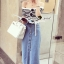 Seoul Secret Wipe Stripty Knit Denim Bottle Skirt Set thumbnail 5