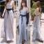 Odee Cutie Korean Style Maxi Dress ชุดเดรสยาวสีเทา แขนกุด thumbnail 9