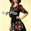 Lady Ribbon Floral Embroidered Draping Chiffon Dress thumbnail 5