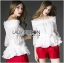 Lady Ribbon Chiffon Blouse and Red Hot Pants Set thumbnail 4