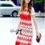 Lady Ribbon Tribal Embroidered Silk Chiffon Midi Dress thumbnail 3