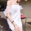 Cliona Made Raffle Dress มินิเดรสสายเดี่ยวผ้าแก้ว แต่งระบายผ้าแก้ว thumbnail 6