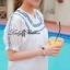 Lady Ribbon เสื้อตัวยาวปักครอสติส แขนตุ๊กตา สีขาว สีกรมท่า thumbnail 6