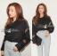 Lady Ribbon Sassy Shirt เสื้อเชิ้ตแขนยาว ตัดต่อผ้าตาข่าย ซีทรู สีขาว+สีดำ thumbnail 7