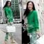 Lady Ribbon Green Knit Leaf Print Set เซ็ตเสื้อพร้อมกางเกง thumbnail 3