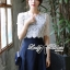 Lady Ribbon เดรสผ้าลูกไม้ ต่อกระโปรงสีน้ำเงิน สไตล์วินเทจ thumbnail 1
