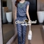 Seoul Secret Chic Blue Denim Printed Playsuit thumbnail 7