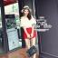 Odee Cutie ชุดเซ็ทเสื้อทรงเปิดไหล่ กางเกงขาสั้นสีแดง thumbnail 4