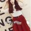 Lady Ribbon Set ชุดเซ็ทเสื้อผ้าลูกไม้สีขาวและกระโปรงสีแดงเบอร์กันดี thumbnail 6