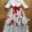 Lady Ribbon Painting Red Floral Print Midi Dress in White thumbnail 7