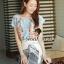 Seoul Secret ชุดเซ็ทเสื้อลายดอก กระโปรงโทนสีขาวดำ thumbnail 5