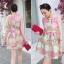 Lady Ribbon Graphic Style Dress เดรสลายดอก สีชมพูและเขียวอ่อน thumbnail 3