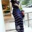 Maxi Dress เดรสยาวผ้าชีฟอง พิมพ์ลายขวาง สีน้ำเงิน สีขาว thumbnail 14