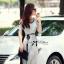 Lady Ribbon Maxi Dress เดรสยาวตัดต่อช่วงไหล่ ทูโทนสีเทาดำ thumbnail 7