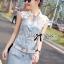 Lady Ribbon Flower Embellished Denim Shirt Dress with Belt thumbnail 4