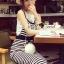 Seoul Secret Chic Stripy Bib Dress thumbnail 6
