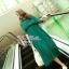 Lady Ribbon เดรสยาวผ้าชีฟองสีเขียวหัวเป็ด กระโปรงพลีท thumbnail 7