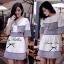 Lady Ribbon ชุดเซ็ตเสื้อนอก พร้อมเดรสเกาะอก ผ้าทวีทขาวดำ thumbnail 3