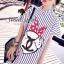 Stripy CC Bow Print Dress Shirt by Seoul Secret thumbnail 1