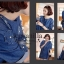 Icevanilla Denim Dress เดรสยีนส์ประดับดอกไม้ ปักมุก thumbnail 4