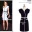 B&W Classic Style เดรสขาวดำ แขนล้ำ แต่งดีเทลคอเสื้อ thumbnail 5