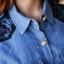 Sweet Blue Shirt เสื้อตัวยาว สีฟ้า ตัดต่อผ้าลูกไม้ช่วงหลังและกระโปรง thumbnail 7
