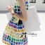 Lady Ribbon Lady Coco Chanel Colorful Painting Dress Set thumbnail 4