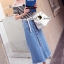 Seoul Secret Wipe Stripty Knit Denim Bottle Skirt Set thumbnail 1
